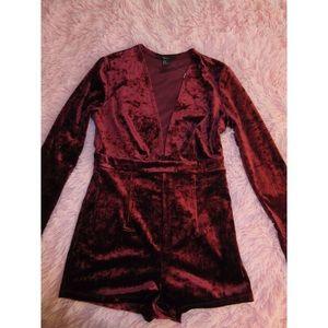 🆕 Velvet Burgundy Jumpsuit